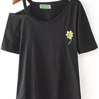Black One-shoulder Cutout Embroidered Short Sleeve T-Shirt