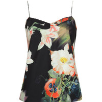 Printed scallop edge cami - Black | Tops & T-shirts | Ted Baker ROW