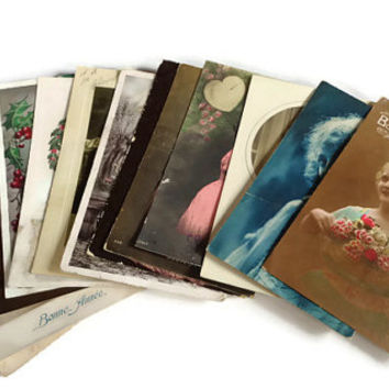 Mixed Lot of 14 Vintage Postcards . Vintage Postcard Lot . Antique Woman Postcards .