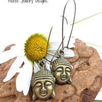 Buddha head Bronze charm earrings, yoga, Buddhist jewelry. Kidney ear wire.