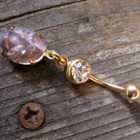 Faux Amethyst Druzy Belly Button Jewelry Navel Ring Piercing Bar Barbell Gold Surgical Steel
