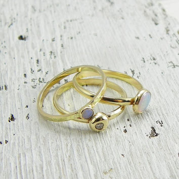 3 Stacking Rings, Solid 14k Gold Opal and Diamond, Conflict Free Diamond, Opal Ring, Stacking Rings Gold, Stacking Ring Set