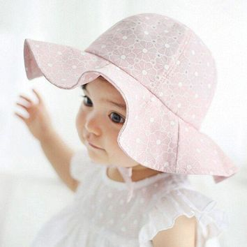 CUPUP9G Lovely Kids Pink Sun Hat Summer Cotton Bucket Hats Toddler Children Girls Brim Beach Hat With Wide Brim