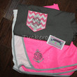 Women's monogrammed running gym shorts and matching chevron faux pocket t-shirts