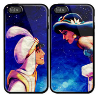 Aladdin and Princess Jasmine Custom couple Case for iPhone 4 and iPhone 5 case.
