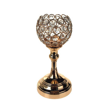 Crystal Globe Stand Metal Centerpiece Candle Holder, Gold, 9-1/2-Inch