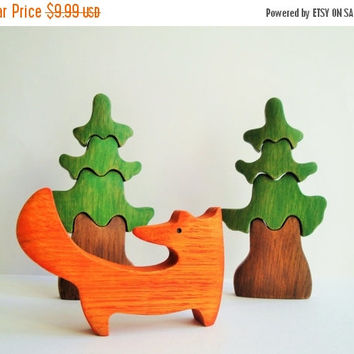 ON SALE Toy Fox Waldorf toys  Pretend play Animal toys for kids Wooden toy Waldorf nature table Animal figurine Eco Friendly Boys gift