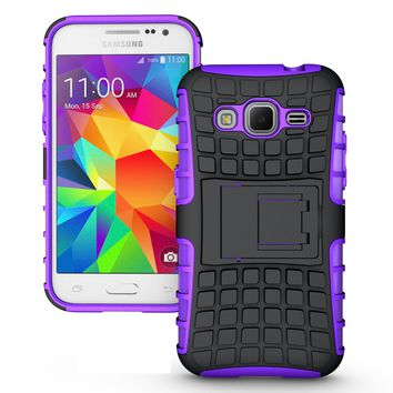 Samsung Galaxy Core Prime Prevail LTE / G360 TPU Slim Rugged Hybrid Stand Case Cover Purple