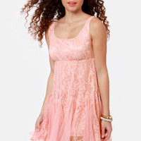 Chills and Frills Peach Lace Dress
