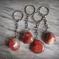 1 Tumbled Carnelian KeyChain, Carnelian Agate Key Ring, Amber Red Color, Carnelian Agate Key Chain, Natural Stone,  Metaphysical, Creativity
