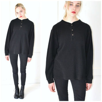 minimalist black HENLEY shirt vintage 90s GRUNGE relaxed fit UNISEX pull over waffle shirt os