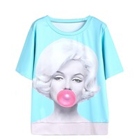 CrazyPomelo Women's Cotton Marilyn Monroe Bubblegum Beauty Print T-shirts Blue