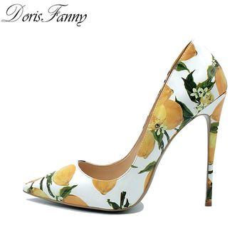 Colorful Floral Printed Stiletto Sexy High Heels Shallow Classical Pointed Toe Pumps