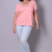 Plus Size Destroyed TriBlend V-Neck Tee - Pink