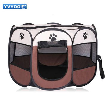 YVYOO Portable Folding Pet tent Dog House Cage Dog Cat Tent Playpen Puppy Kennel Octagonal Fence outdoor Pet products A08
