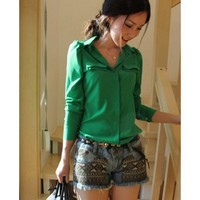 Chiffon Clothing Women Autumn Apparel New Style Puff Sleeve Candy Color Green Long Sleeve Shirt M/L/XL @WH0430gr $18.66 only in eFexcity.com.