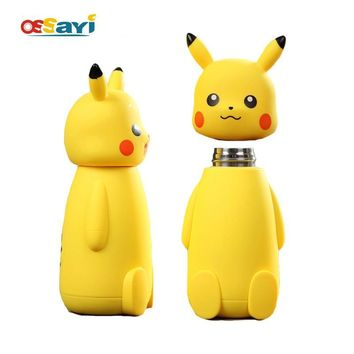 Pikachu Vacuum Cup Stainless Steel Thermo Mug Insulated Cartoon Vacuum Flasks Thermoses Travel Drink Water BottleKawaii Pokemon go  AT_89_9