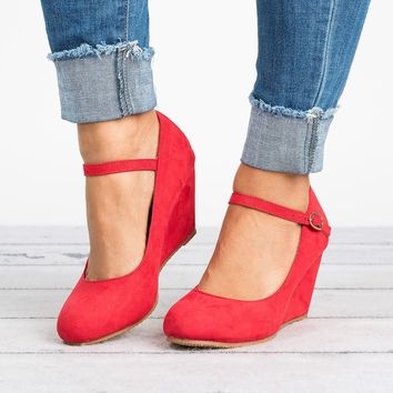 Mary Jane Wedge Pump - Red