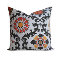 Suzani Pillow Cover - 20 x 20 -  Orange Brown Yellow Medallion Pillow - SAME Fabric BOTH SIDES - Invisible Zipper