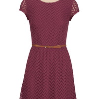 Short Sleeve Textured Lace Dress With Belt - Dusty Plum