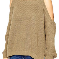 Square Neck Cutout Shoulder Pullover Sweater