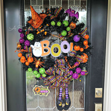 Bright BOO Light-Up Witch Wreath - Witch Wreath, Halloween Decor, Spooky Wreath, Whimsical Halloween Wreath, Large Halloween Wreath, Ghost