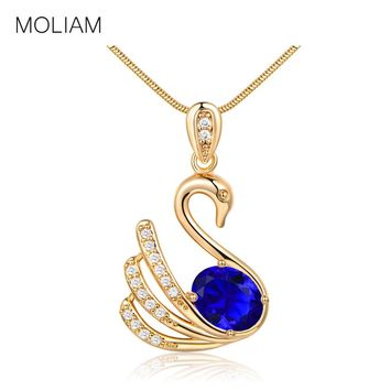 MOLIAM Hot Fashion Statement Necklaces Silver/Gold-Color Crystal Swan Element Pendant Necklace Collares Largo MLP021,MLP022