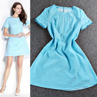 Solid Short Sleeve A-Line mini Dress