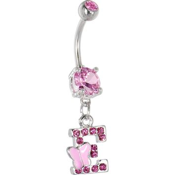 "Pink Gem Butterfly INITIAL Dangle Belly Ring - LETTER ""E"""