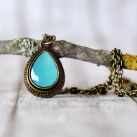 Aqua Blue Dyed Jade Gemstone Pendant - Antiqued Brass Necklace - Something Blue