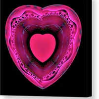 Pink And Red Heart On Black Canvas Print