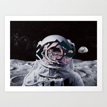 Spaceman oh spaceman, come rescue me (teal) Art Print by Lostfog Co.