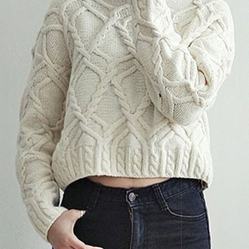 Off White Jewel Neck Cable-Knit Long Sleeve Sweater