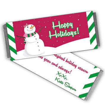 Girl Christmas Candy Wrappers - Christmas Class Party Favors - Personalized Printable or Printed - Snowman Candy Bar Wrapper - Pink Green