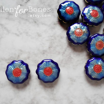 1pc ∙ Daisy Bead Blue Red Enamel Flower Pendant Floral Cloisonné Jewelry Supplies
