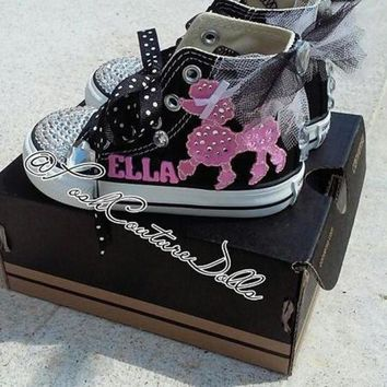 ESBONV pink poodles in paris theme posh custom converse