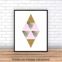 Abstract Art Print, Printable Art, Geometric Print,Minimalist Poster,Scandinavian Design,Pink Gray Yellow Abstract Wall Art,Digital Download
