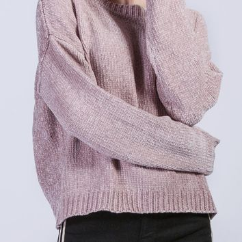 Brie Chenille Sweater in Dusty Pink