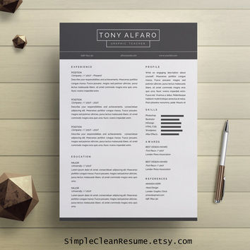 Resume Template Instant Download, Simple CV Design, Cover Letter for MS Word, CV Template, Professional Resume, Tony Alfaro