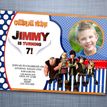 How To Train Dragon Friends Polka Dot Photo, Birthday Party, Invitation Card Design
