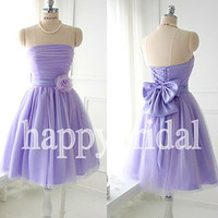 Short Lavender Bridesmaid Dresses Beautiful Bow Prom Dresses Party Dresses Tulle Homecoming Dresses 2014 New Fashion