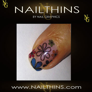 DAISIES  Blue Multi Color Full Nail Decal  Nail Art  Nail Design NAILTHINS
