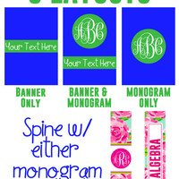 Set of 2 DIY Printable Monogram Binder Insert Covers Lilly Pulitzer Patterns Great For College Classes, School Subjects, Vacations, Recipes