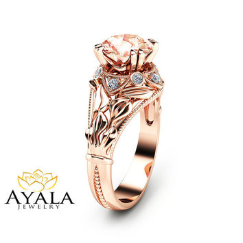 2 Carat Morganite Leaf Engagement Ring Unique Peach Pink Morganite Ring in 14K Rose Gold Leaf Design Engagement Ring
