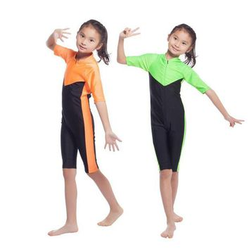 ONETOW Summer Kids Girls Modest Swimwear Swimsuit Muslim Islamic One-piece Swimsuit