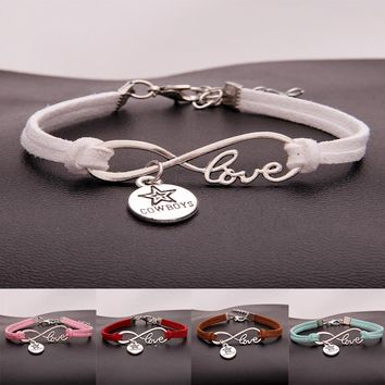 Drop Shipping  15Colors Infinity Love Dallas Cowboys Charm Braided Bracelet & Bangles Handmade Sports Jewelry For Women Men