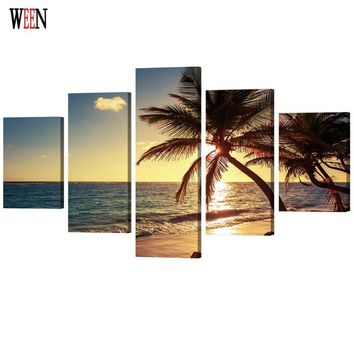 WEEN HD Printed Sea Lanscape Picture Stretched And Framed 5 Piece Tree Wall Canvas Art For Living Room cuadros decoracion Gift