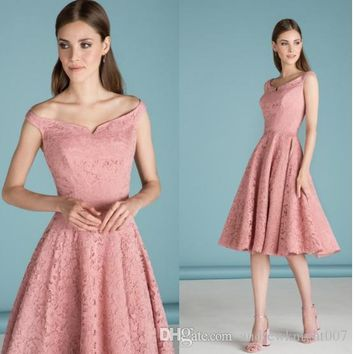 New Women Elegant Sleeveless Bridesmaid Swing A-line Dress Vintage Slash Neck Patchwork Midi Party Lace Dress DK9025CL