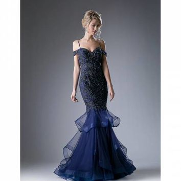 Navy Blue Off The Shoulder Prom Dress With Mermaid Skirt for Prom 2017