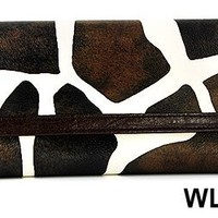 Brown Giraffe Print Clutch Wallet with Checkbook Holder with Brown Trim